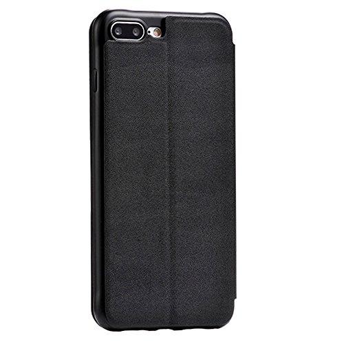 Coque iPhone 7 Plus, PUGO TOP PU Étui Housse en Cuir Ultra-mince Avec La Fonction Stand pour iPhone 7 Plus Case - or royal iPhone7 Plus,noir