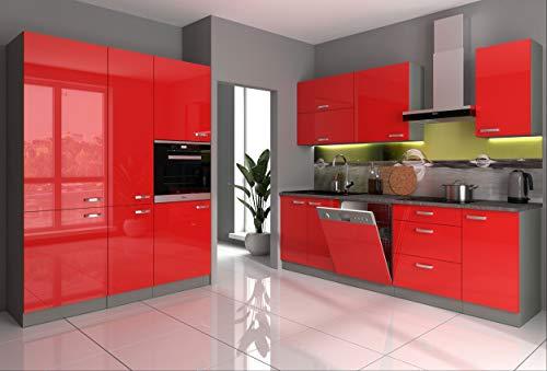 Küche Vario III 240+160 cm Küchenzeile in Hochglanz Rot Küchenblock Einbauküche