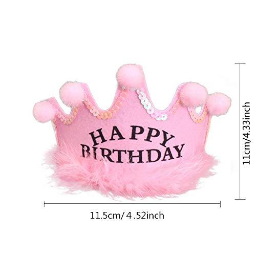 RORODE Gold Flower Style Geburtstag Hut für Kinder Erwachsene Kinder Baby Prinzessin Tiara Pom Crown King Sparkle ()