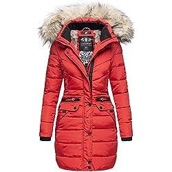 Navahoo Damen Winter Jacke Mantel Parka warm gefütterte Winterjacke B383 [B383-Paula-Rot-Gr.L]