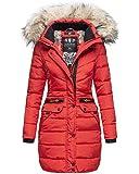 Navahoo Damen Winter Jacke Mantel Parka warm gefütterte Winterjacke B383 [B383-Paula-Rot-Gr.XL]
