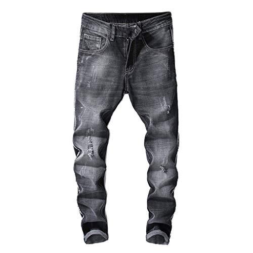 Cardith Herren Helle Farbe Zerrissene Jeans Persönlichkeit Retro Slim Fit Zipper Stretch Denim Hose