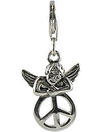 878168b11021 Quiges Charm Anhänger Engel mit Peace Zeichen 925 Silber mit  Karabinerverschluss für Bettelarmband