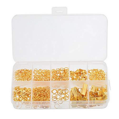 YF Lot de 525 anneaux ouverts en alliage doré avec fermoirs mousqueton, marque-page à sertir et extrémités de chaîne extensibles pour fabrication de bijoux