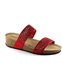 zapatillas de cuña roja de diamantes de imitación de cuero sandalias de las mujeres Grünland ANIN CB1480