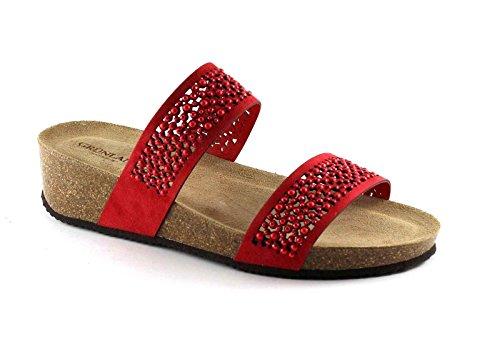 GRUNLAND ANIN CB1480 rosso sandali ciabatte donna zeppa strass pelle Rosso