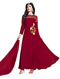 Lilots Georgette Red Heavy Embroidery On Neck With Patch WorkSemi Stitch Salwar Kameez