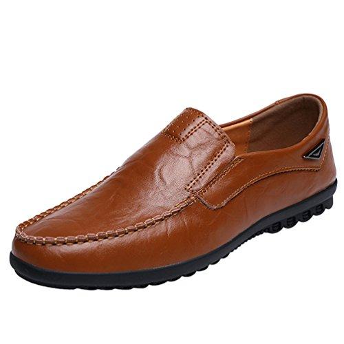 Dooxi uomo elegante durevole piatto mocassini scarpe moda casuale guida scarpe rosso marrone 40