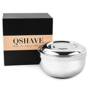 QSHAVE Rasierschale, für Seife, aus Edelstahl, mit Deckel, 10,2cm Durchmesser, tief, verchromt, 1Stück