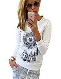 Sweat Shirt Femme Pull Imprimé Col Rond Sweatshirt Sweat-Shirt T Shirt  Manche Longue Sweat sans Capuche Fille Tee Shirt Manches… cd1ab261e485