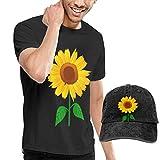 Henrnt Kurzarmshirt T-Shirts Herren, Sunflower Clipart? T Shirt Short Sleeve with Denim Hat