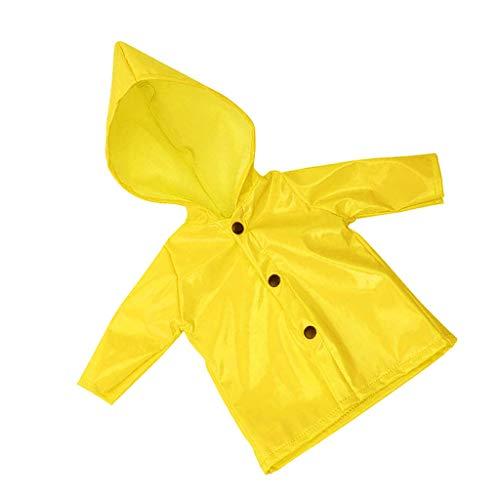 Fenteer Puppe Regenmantel Regenjacke Mit Kapuze Kleidung Für 18 Zoll Mädchen Puppen Dress Up - Gelb