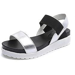 Sandalias Mujer Plataforma Cuero Verano Zapatillas Deportivas 4cm Negro Blanco Plata 35-40 Plata 36