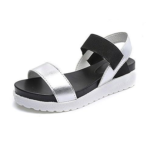 Sandales été pour Femme Ladies Cuir Métal Peep Toe Chaussures