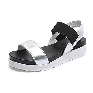 Sandali delle Donne Estate Piatto Caviglia Pelle Peep Toe Metal Scarpe 4cm Nero Bianco Argento Argento 35