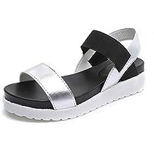Mujere Sandalia Zapatos de Plano Playa de Moda Plato Verano Calzado 4cm Negro Blanco Plata 35-40