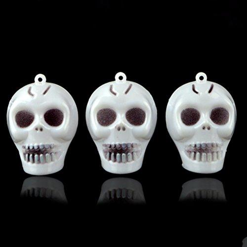 BESTOYARD 5pcs Mini Small Skull Luminous Hanging Horror Party Decoration Props Prank for Halloween Club Pub Haunted House