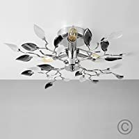 Modern Chrome 3 Way Decorative Frosted Leaf Design Ceiling Light by MiniSun