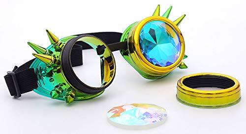 KOLCY Steampunk Brillen Coole Schutzbrillen Kaleidoskop Partybrillen Mischfarbe Gelb mit Grün Rund Schmuck Sonnenbrille Accessoire Retro Einstellbar mit Spitzen