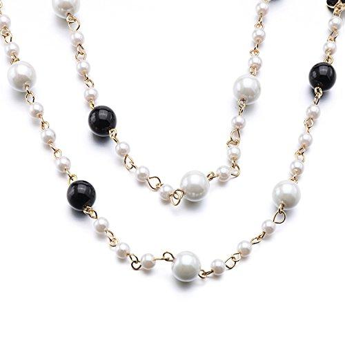 LF bianco collana di perle nere collana Varietà varietà di metodo di indossare - Argento Nome Blocco Collana