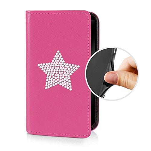Für Apple iPhone --- 7-Plus --- eSPee Hülle Schutzhülle Wallet Flip Case Schwarz mit Strass Stern UNZERBRECHLICHER Silikon Schale / Bumper und Magnetverschluss Pink