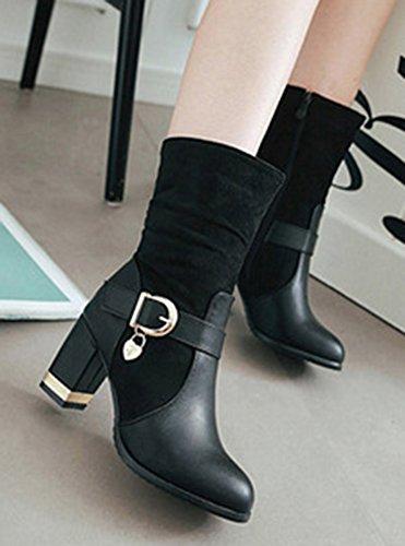 Aisun Femme Classique Hautes Fermeture Eclair Mollet Chunky Cavalier Bottes Noir