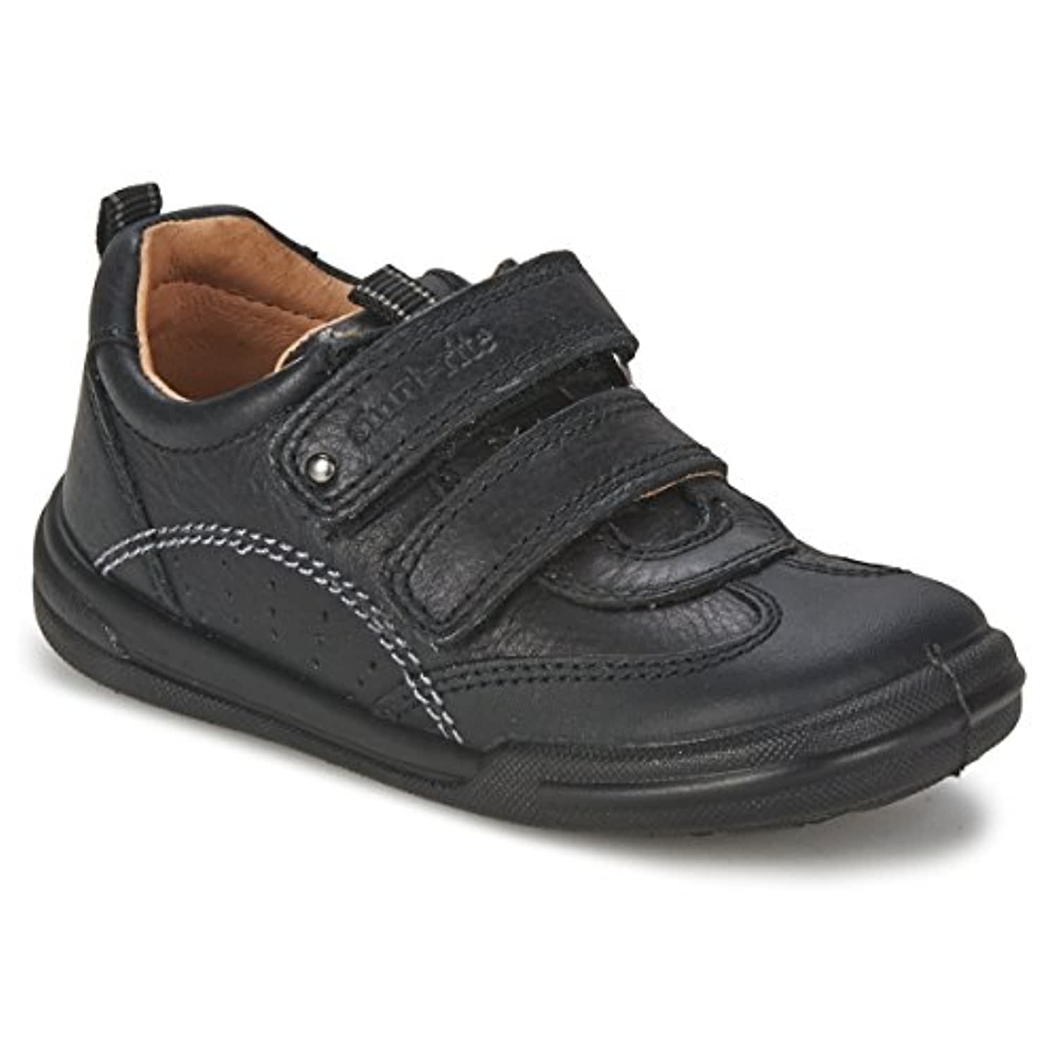 Boys Start-rite Leather Shoes With Double Velcro - Flexy-soft Air Black Size 5.5 F