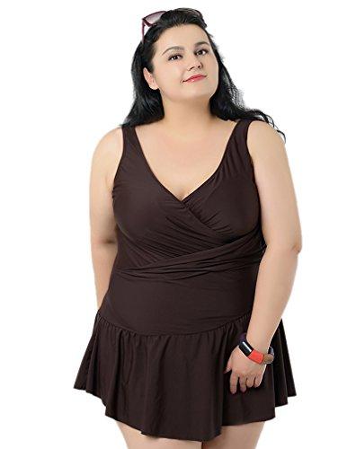 lonior da donna Plus Size bagno monokini costumi con gonna a vita alta imbottita stampata Tankinis Brown XXXXXXL(24W x 22L)