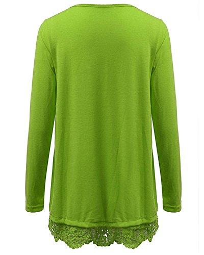 Zanzea Sexy Langarmshirt mit Spitze für Damen, casual, gehäkelt, Rundhals, einfarbig, für den Herbst Tops Grün - Grün