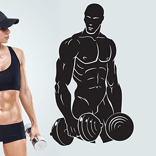 Auto Gym Aufkleber Fitness Hantel Aufkleber Bodybuilding Poster Vinyl Wandtattoos Pegatina Decor Wandbild Gym Aufkleber-87x51cm