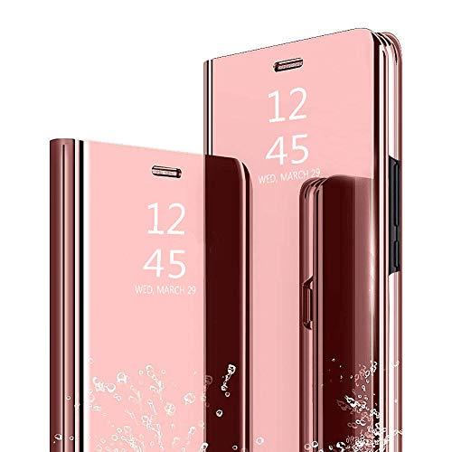 Ptny Flip Cuero Funda Compatibles Xiaomi Mi A1/ Mi 5X Carcasa, Vista Inteligente Protector de Pantalla Plegable Flip Ultra Delgado Translúcido Espejo Slim Fit Smart Bumper [Oro Rosa]