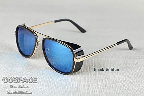 NSYJDSP Männliche Sonnenbrille Tony Stark Iron Man Matsuda Sonnenbrille Retro Vintage Eyewear Sonnenbrille UV400 De Sol schwarz blau