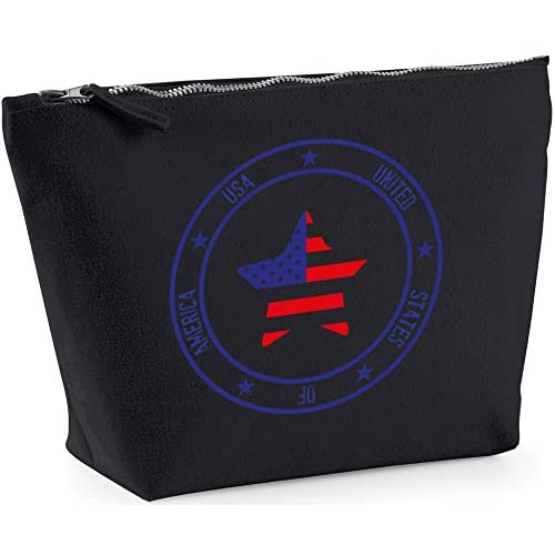 Hippowarehouse USA Flag Star printed make up cosmetic wash bag 18x19x9cm