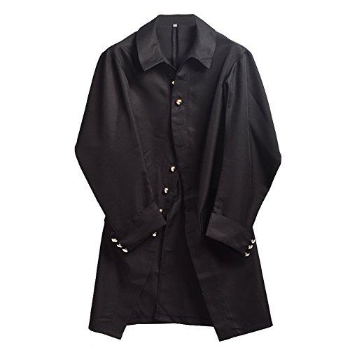 BLESSUME Colonial Herren Mantel Kolonial Kostüm (Black, M)