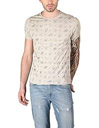The Glu Affair Men's Cotton SandYellow Round Neck T-shirt