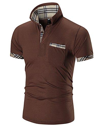 Boom Fashion Herren Poloshirt Kurzarm Slim-Fit kontrast Polohemd T-shirt Braun