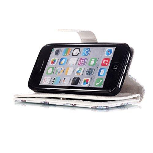 iPhone 55S se étui portefeuille en cuir pour livre, newstars Design léger PU en relief Touch Téléphone Mobile Housses Protège la peau étui en cuir pour iPhone 5/5S/5C/SE avec béquille carte fentes P B Purple Butterfly