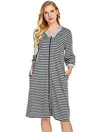 b9ccb4b4de Ekouaer Womens Boyfriend Nightshirt Long Sleeves Pajama Top Button Down Shirt  Dress Nightie Sleepwear