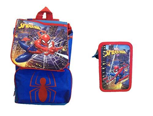 Marvel Spiderman School Extensible Backpack with Trolley,Wheeled Backpack and Triple Tier Filled Pencil Case Schulrucksack mit TrolleyRucksack auf Rädern und Dreifach gefüllte Federmäppchen, 3 Reißve (Tier-rucksack Mit Rädern)