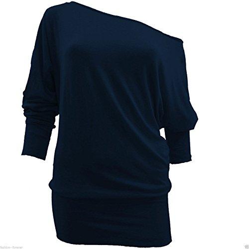 Damen Batwing Baggy Top Long Sleeve Off Schulter Top 8-18 Navy