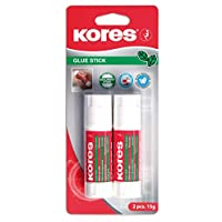 Kores Glue Stick, Solid, Washable, Non-toxic, 15g, Blister Pack of 2
