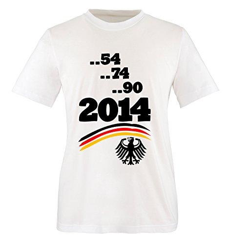Comedy Shirts - WELTMEISTER - 2014 - DEUTSCHLAND - 9 - Herren T-Shirt - Weiss / Schwarz-Rot-Gelb Gr. XL (Comedy-serie Beste 2014)
