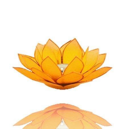 Lotus luce porta lumino in Capiz conchiglie versch. Colori Ø 13,5cm Lotus chakra Feng Shui, Gelb