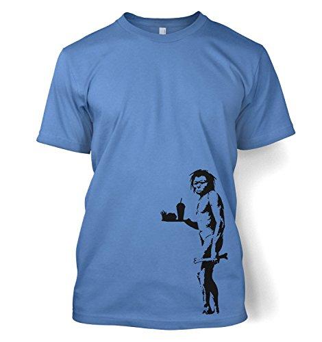 Höhlenmensch mit Fast Food Banksy Kapuzenpullover für Erwachsene Männer T-Shirt Carolinablau