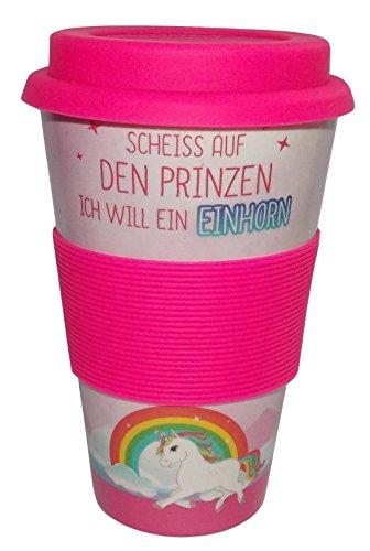 Coffee-to-Go-Becher aus natürlicher Bambusfaser - 350 ml - Nachhaltig - Biologisch abbaubar - Kaffeebecher Kaffee Tasse (Einhorn - Scheiss auf den Prinzen) (Kaffee-prinz-becher)