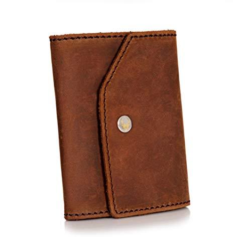 Donbolso Mini Geldbeutel Hamburg Herren RFID Geldbörse Kartenetui mit Münzfach Leder Karten Portemonnaie Männer Klein Slim Wallet Braun