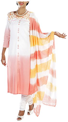 MGM Women's Khadi Straight Salwar Suit (MGMK0020_38, White & Orange, 38)
