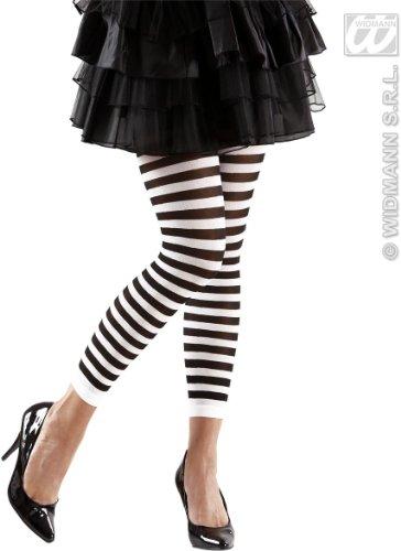 Gestreifte Leggings schwarz-weiß für (Und Gestreifte Halloween Ideen Kostüm Weiß Schwarz)