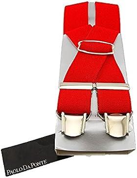 PAOLO DA PONTE Bretelle Uomo - Stretch - Rosso Made in Italy MainApps