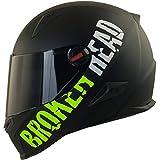 Broken Head BeProud Matt-Schwarz & Grün - Motorradhelm Mit Schwarzem Zusatz-Visier - Größe S...